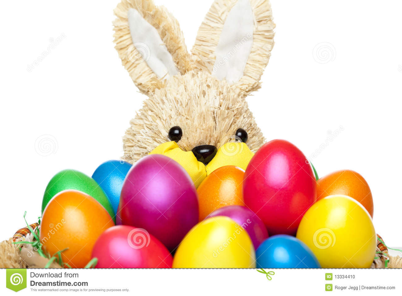 easter bunny with colourful easter eggs stock image image 13334391