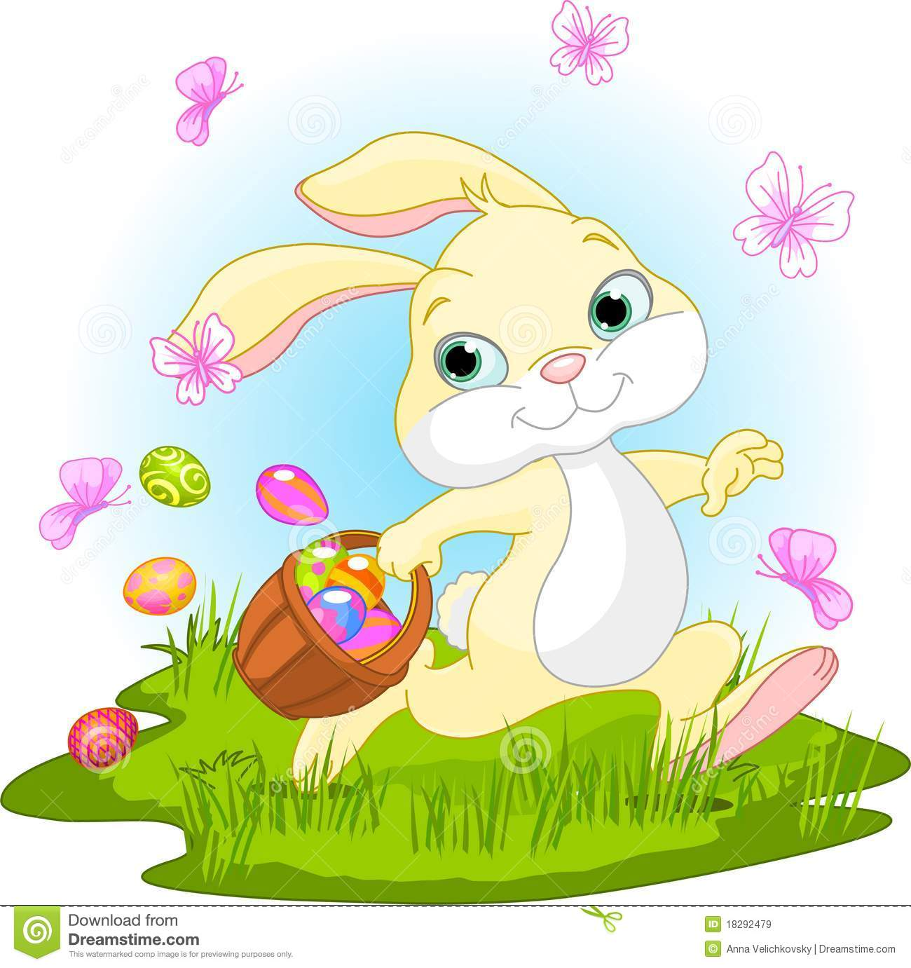 Easter Bunny Hiding Eggs Royalty Free Stock Images Image
