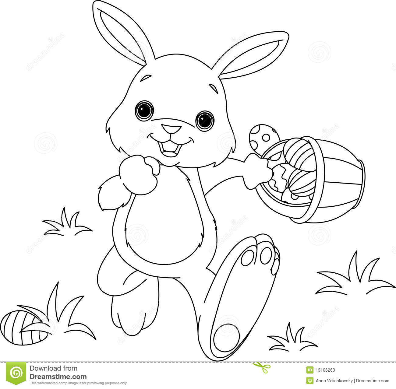 Easter Bunny With Eggs Clipart Black And White Easter Bunny Hiding Eggs