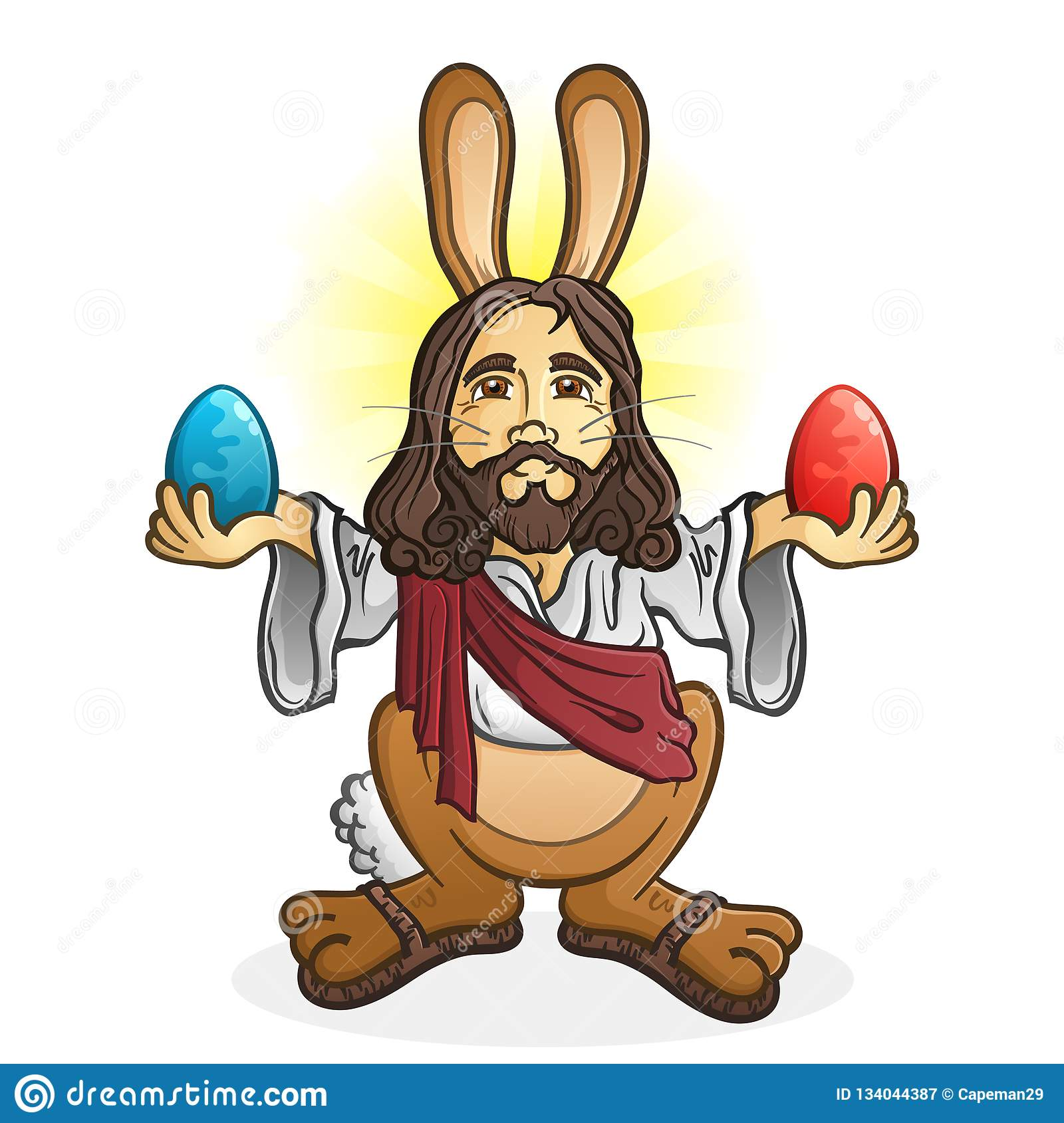 Easter Bunny Jesus Cartoon Character Stock Vector Illustration