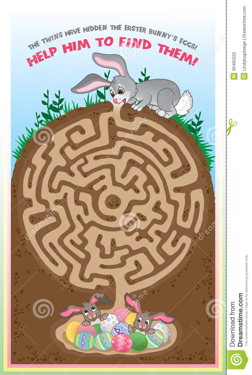 fun easter game for children. Follow the maze to help the bunny find ...