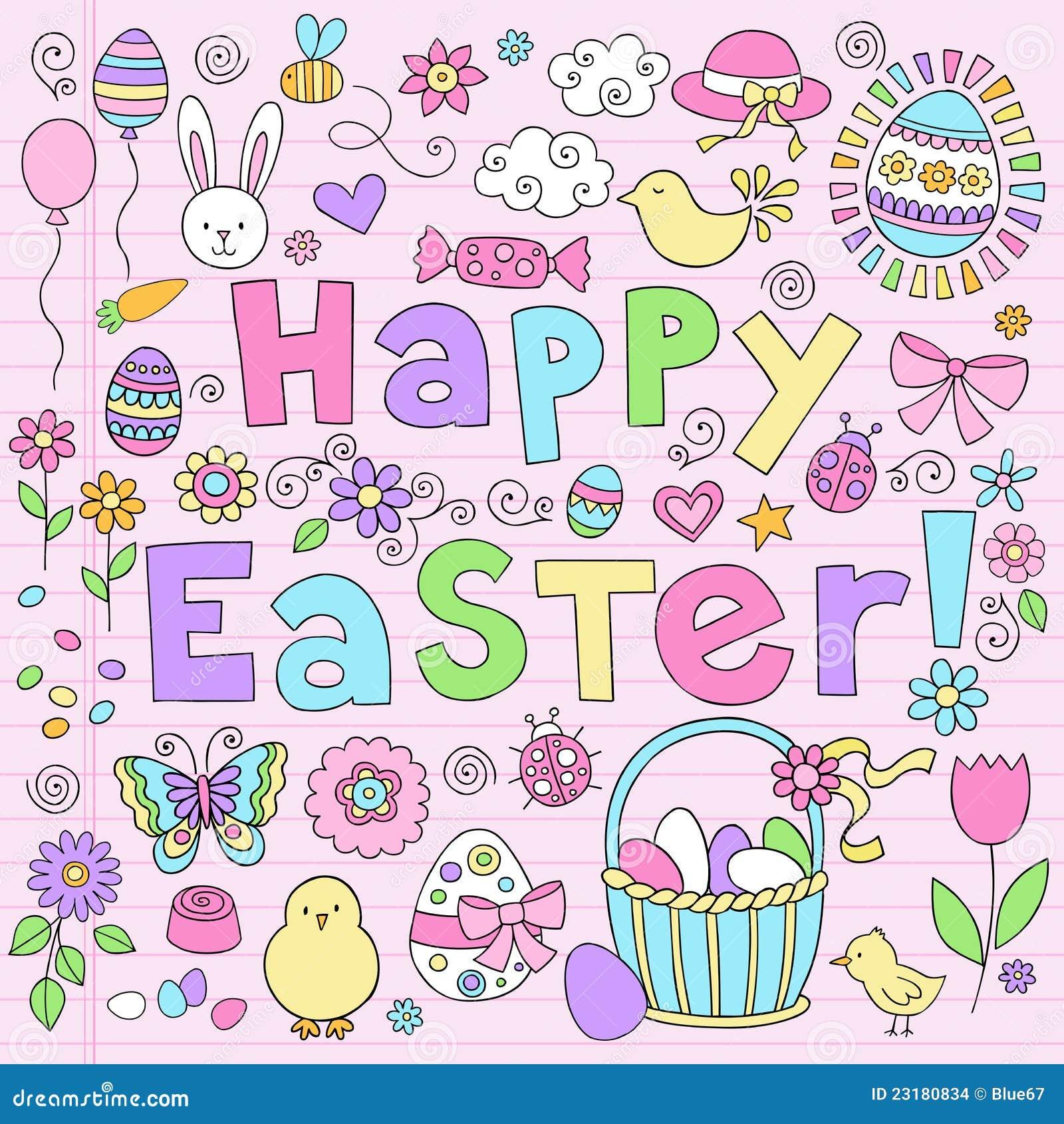Easter Bunny Notebook Doodles Vector Set Stock Vector