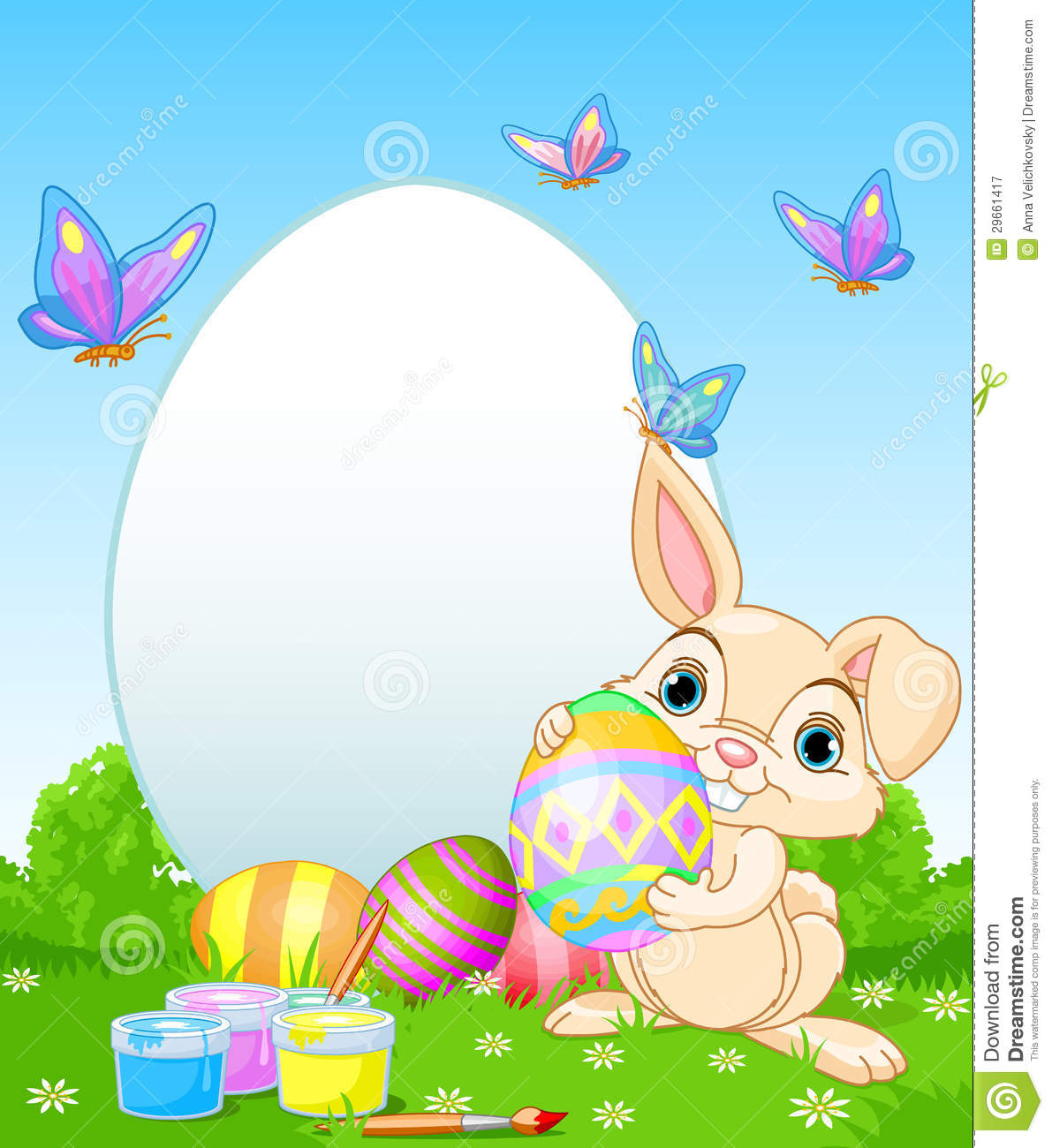 Easter Bunny Painting Easter Eggs Royalty Free Stock