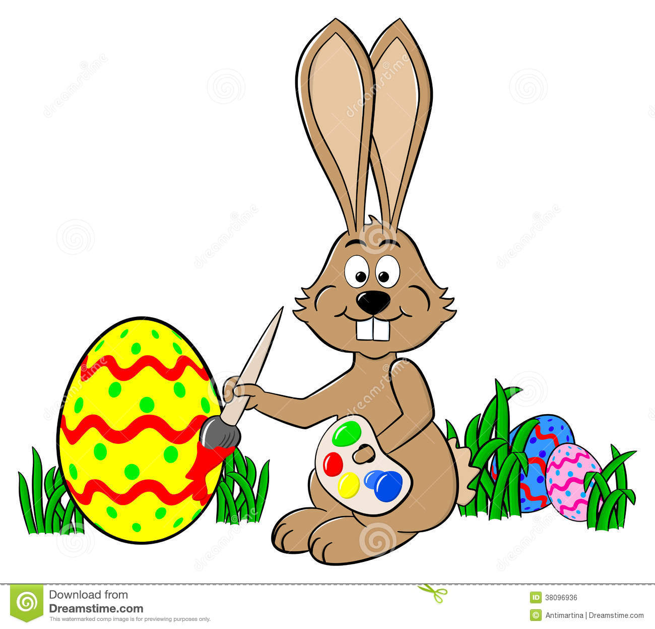 Easter bunny painting an egg royalty free stock image for Hase malen