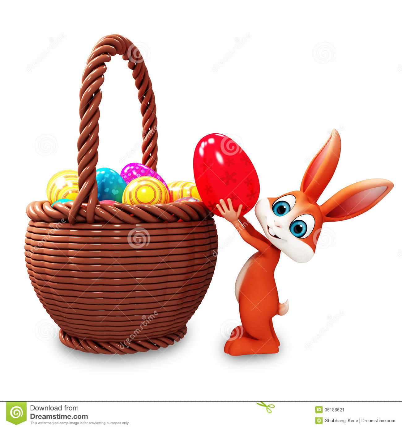 Easter Bunny Pick Up Red Egg Stock Image - Image: 36188621