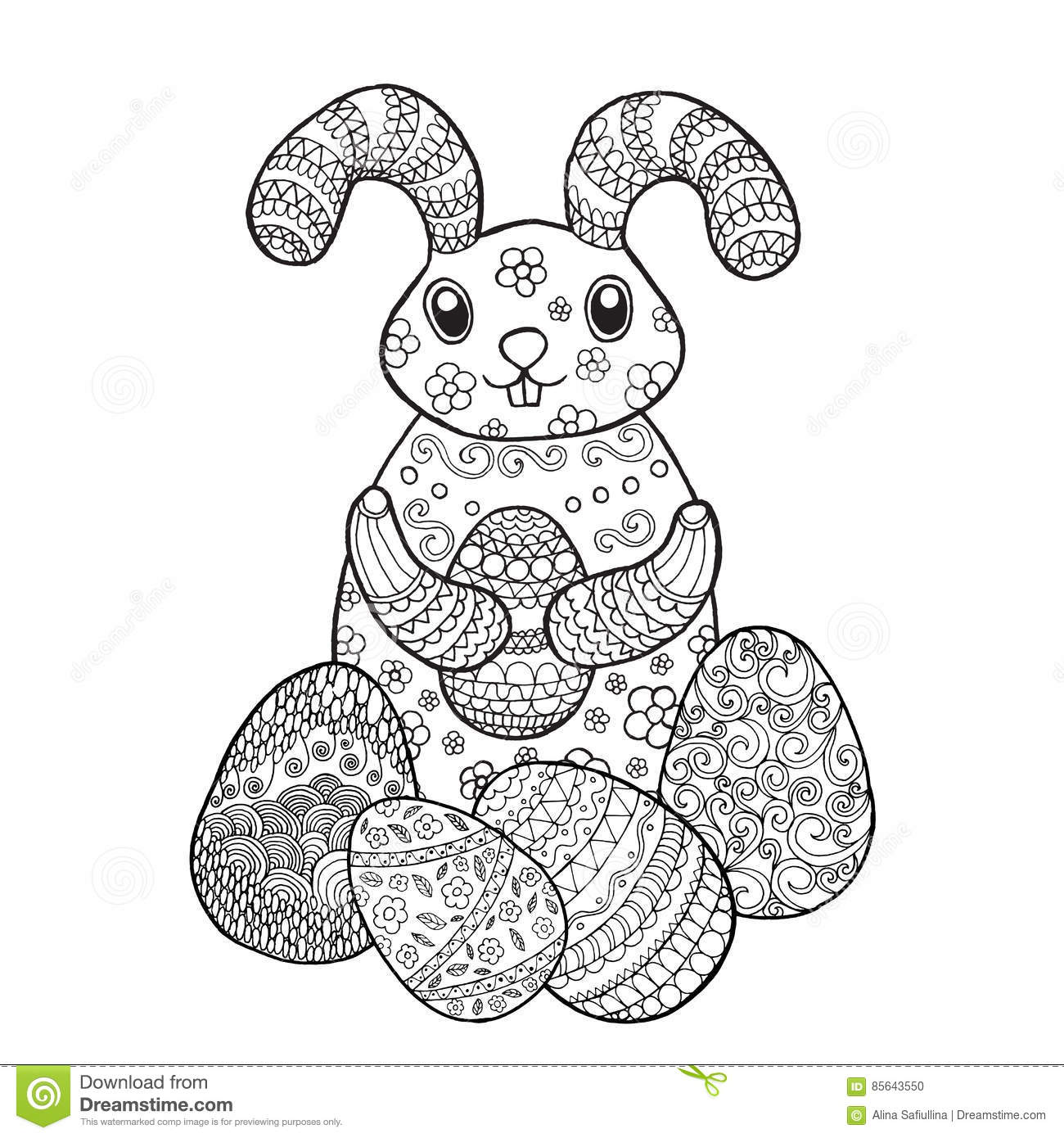 easter bunny rabbit coloring page stock vector image 85643550