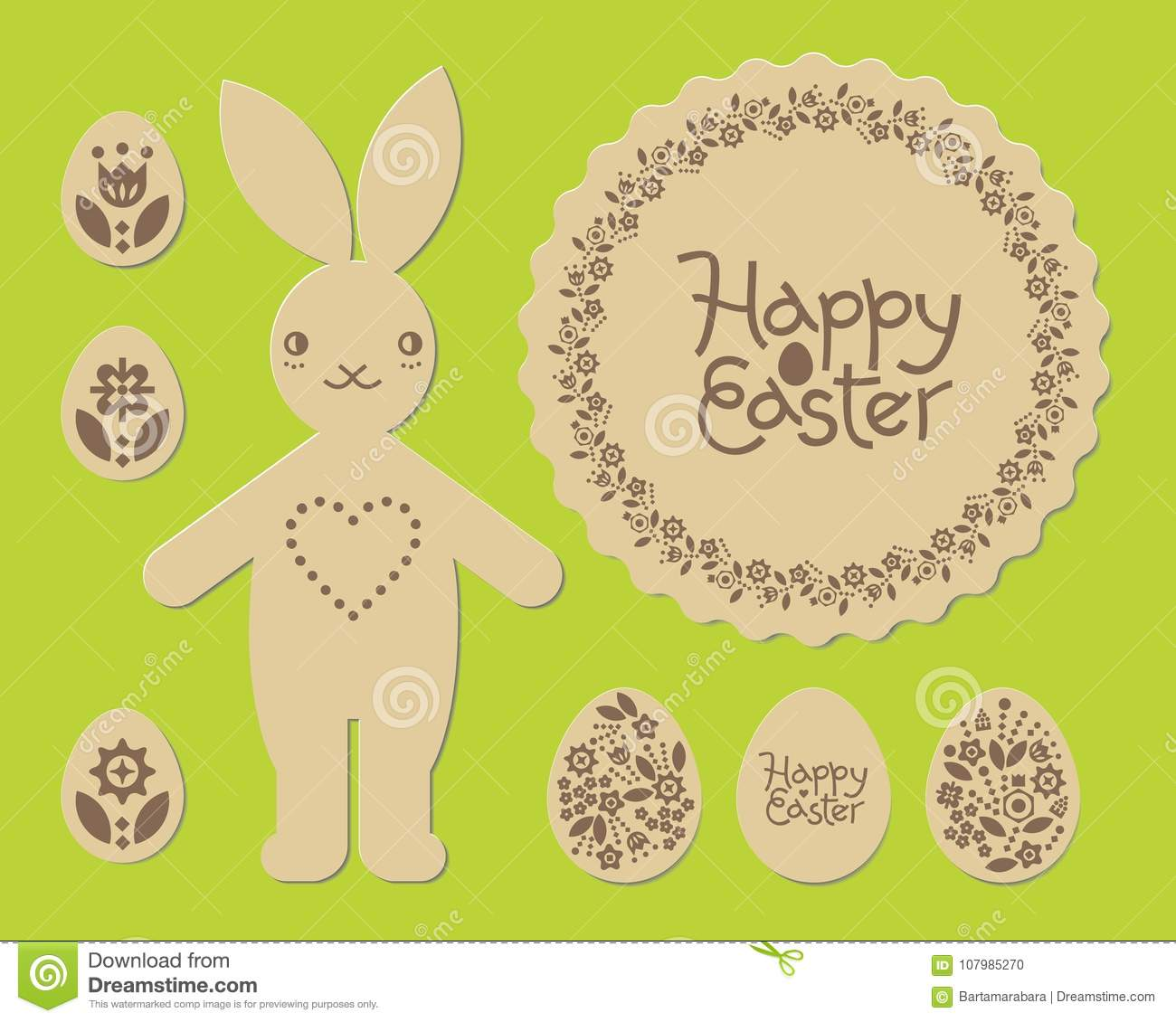 Easter Bunny Rabbit Happy Laser Cut Pattern Cutting Template For Plywood