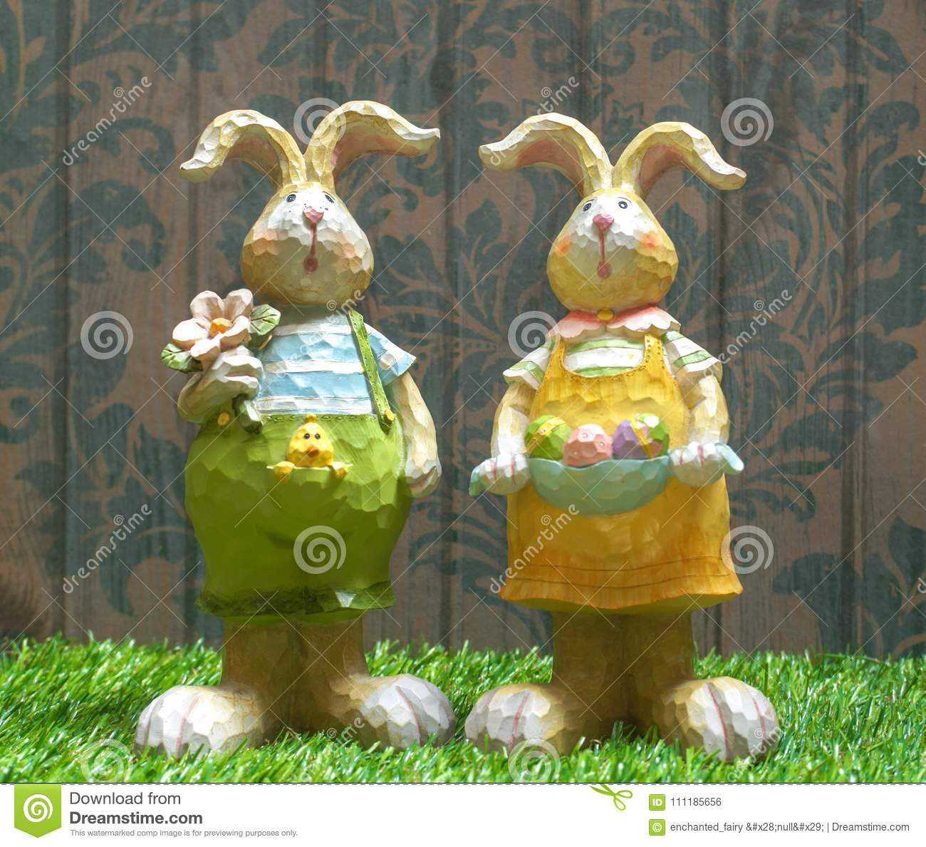 Easter Bunny Wooden Sculpture Home Decor