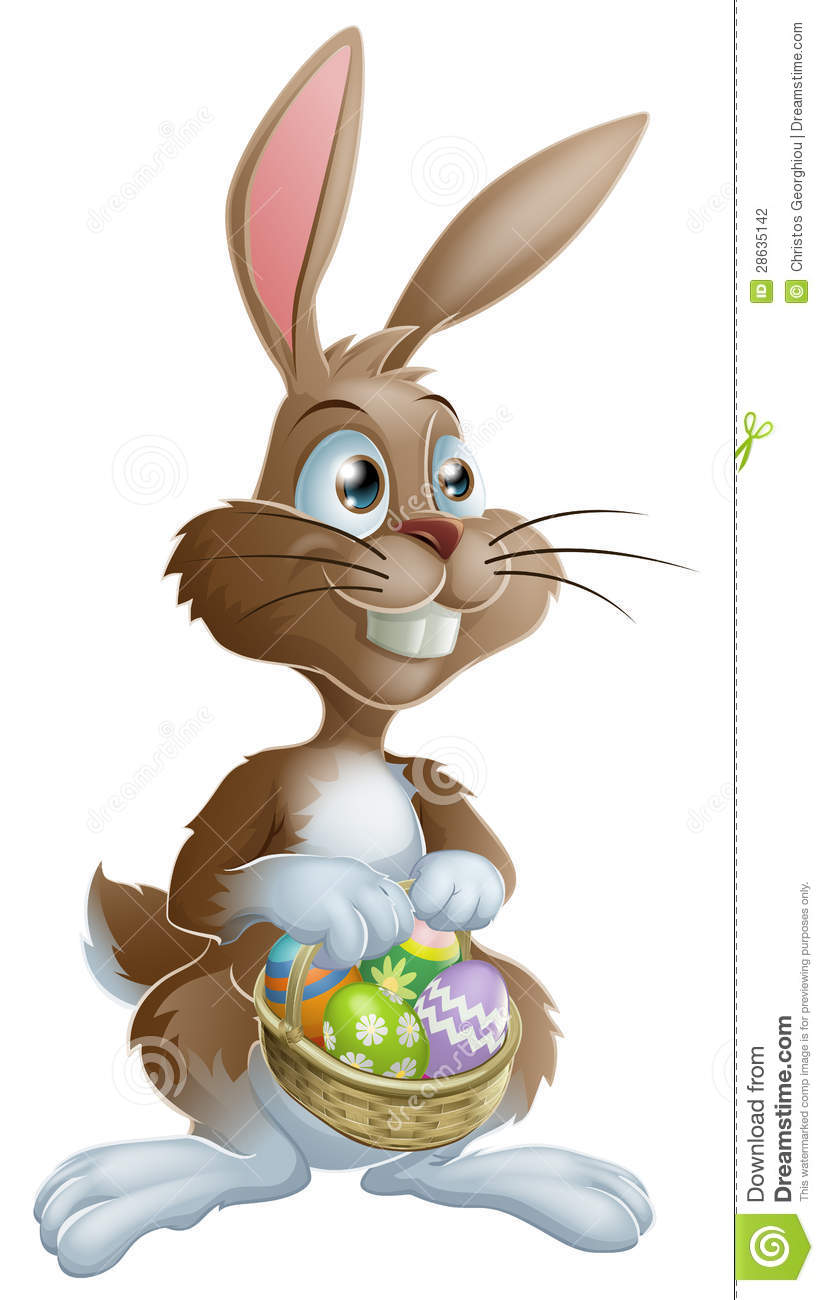 Easter bunny rabbit holding easter basket full of decorated easter