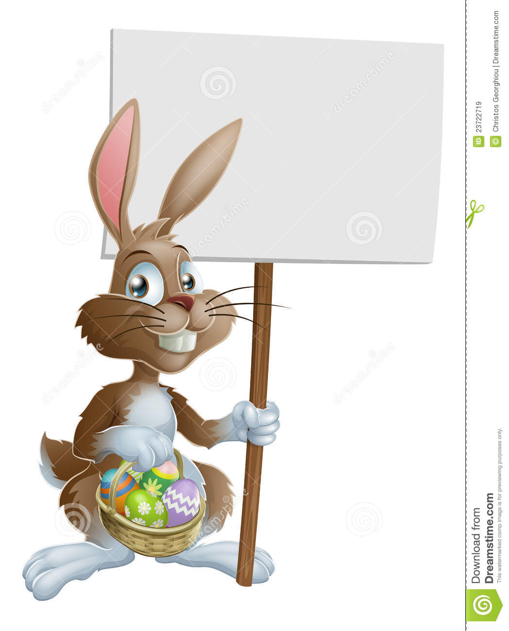 Easter Bunny Rabbit Holding Sign Royalty Free Stock Images