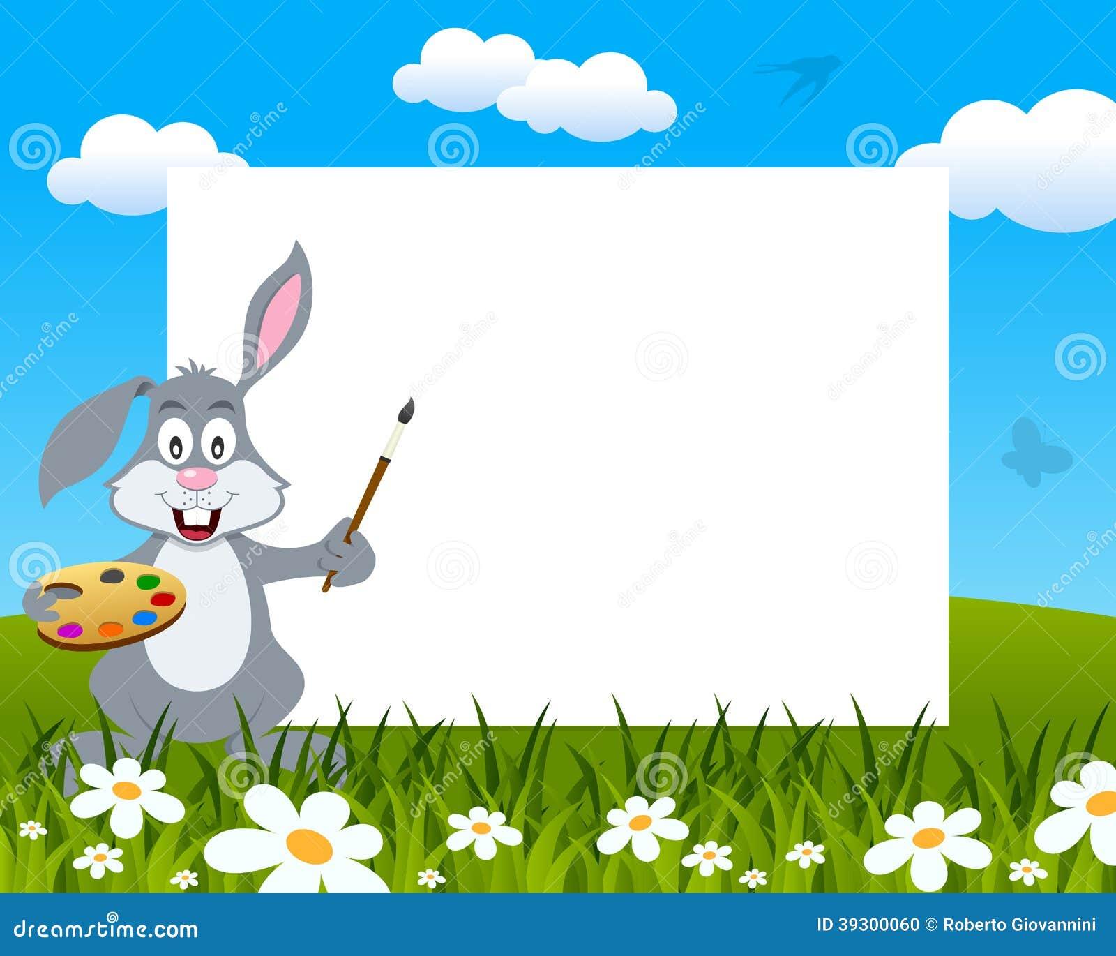 easter bunny rabbit photo frame illustration 39300060 megapixl - Easter Photo Frames