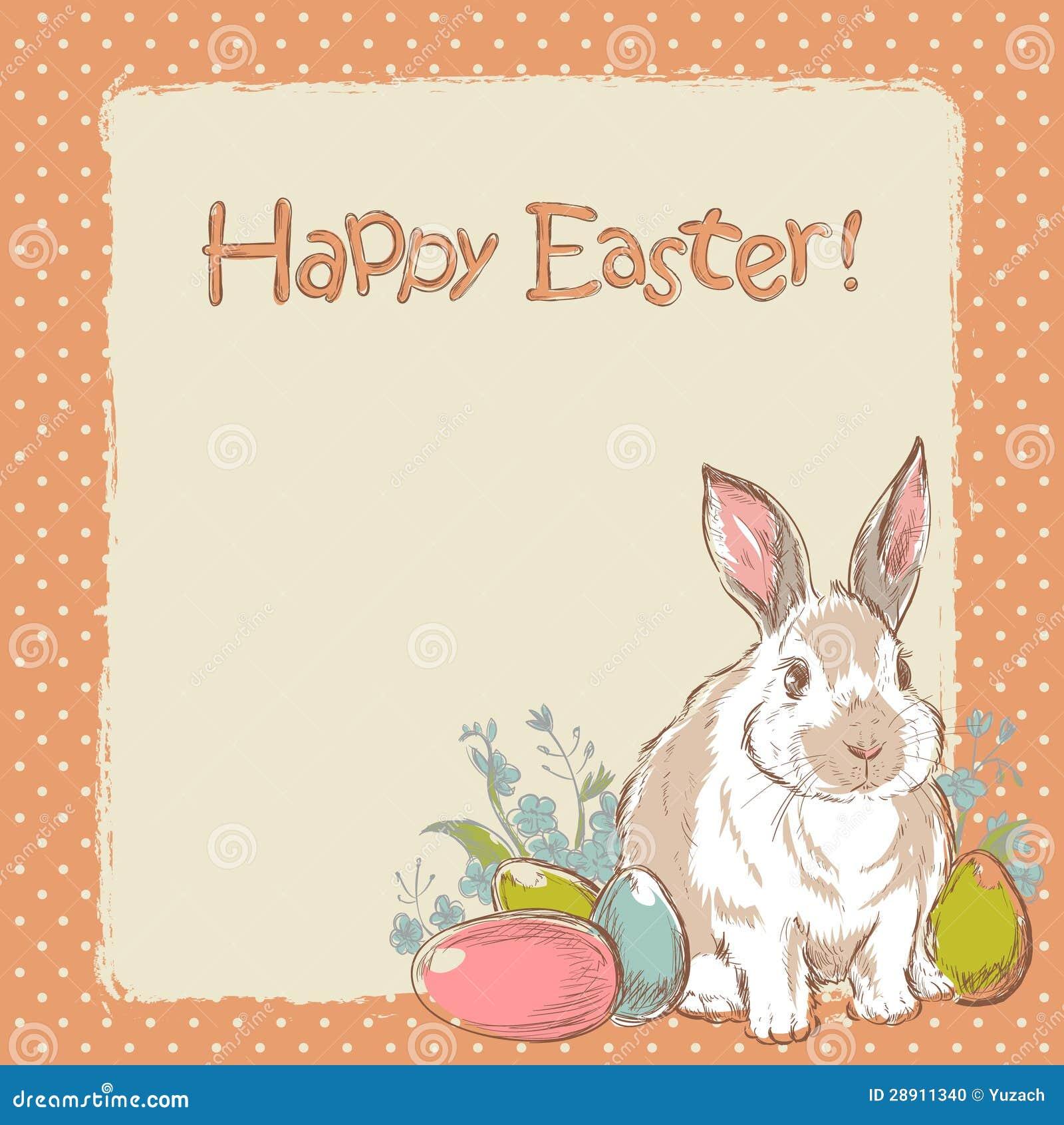Easter bunny retro card stock vector. Image of cartoon ...