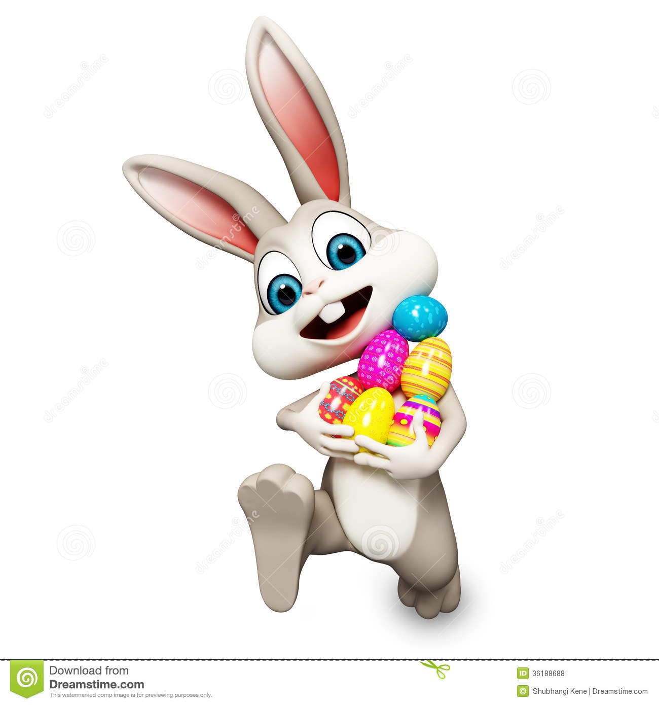 Easter Bunny Running With Ages Stock Illustration