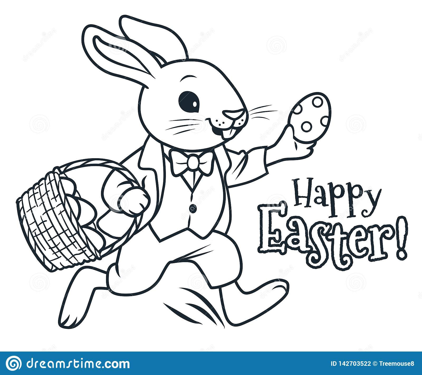 Easter bunny running with basket full of chocolate eggs coloring page vector cartoon illustration spring