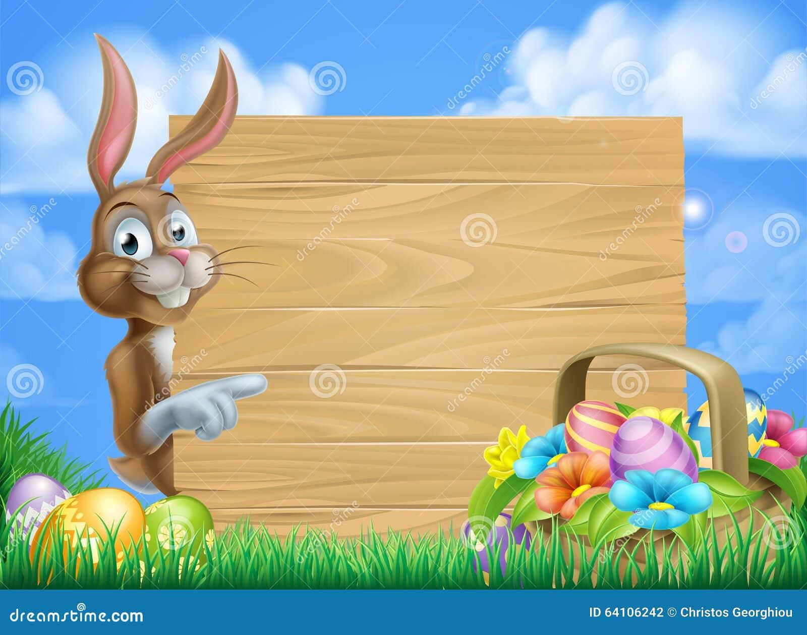 Easter Bunny Sign Background Stock Illustration - Image ...