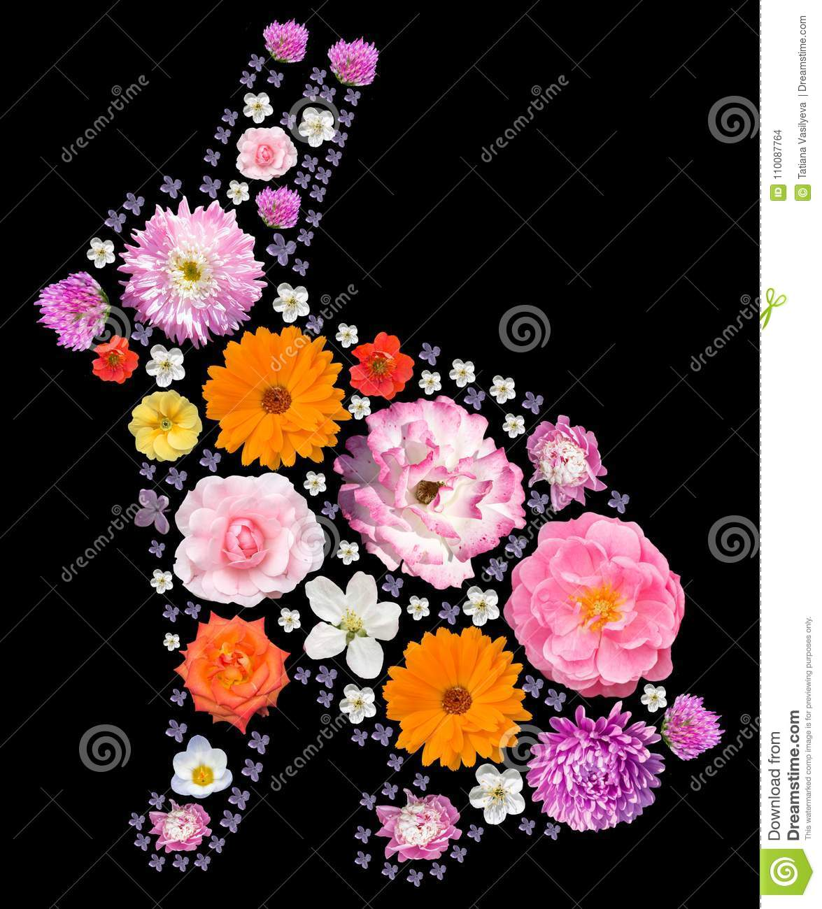Easter rabbit silhouette with floral pattern.