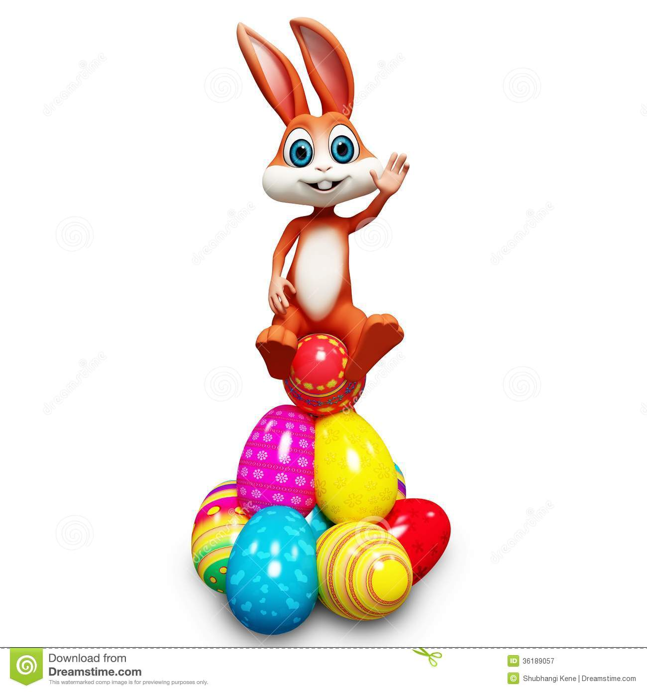 Cockatile Sitting On Easter Eggs 109