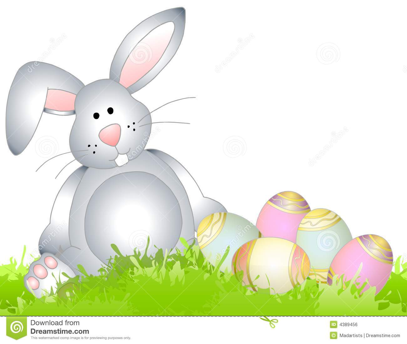 clip art illustration of an Easter bunny sitting in the grass with a ...