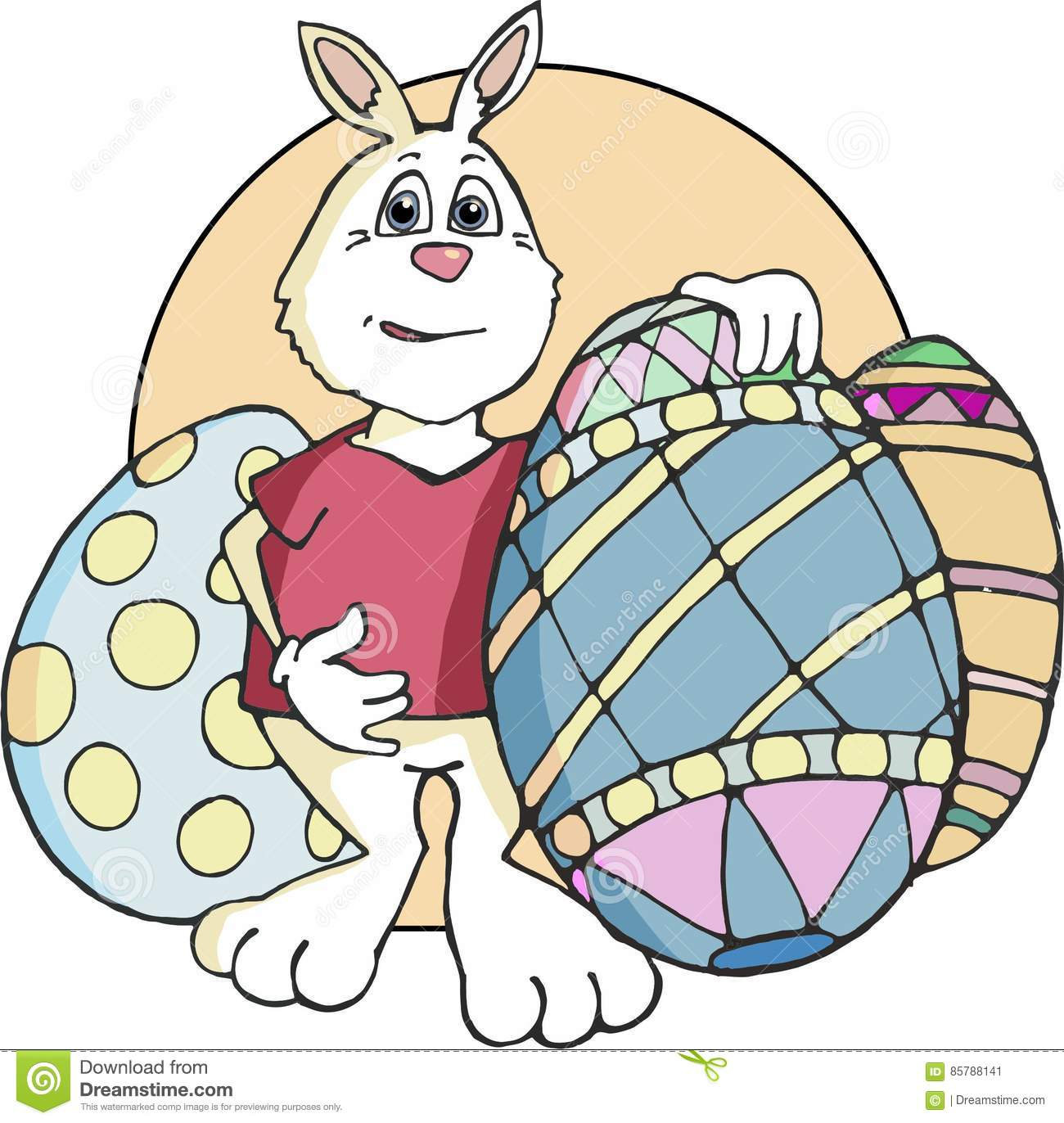 Easter Bunny Standing with Decorated Eggs