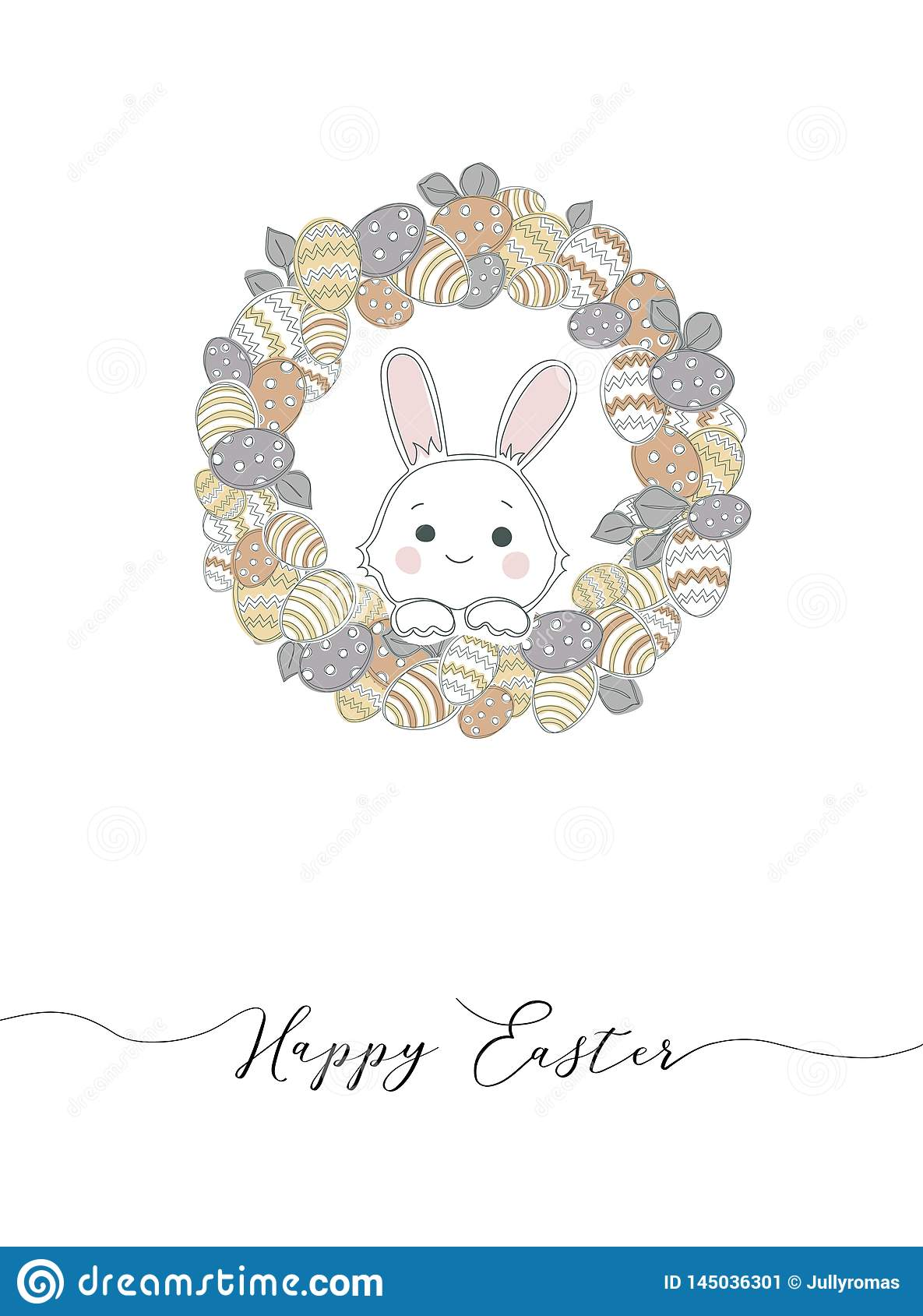 Easter wreath with easter eggs hand drawn seamless pattern.