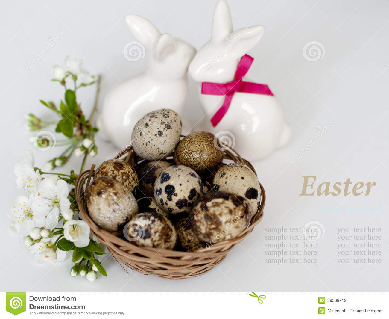 Easter bunnys and easter eggs on white background
