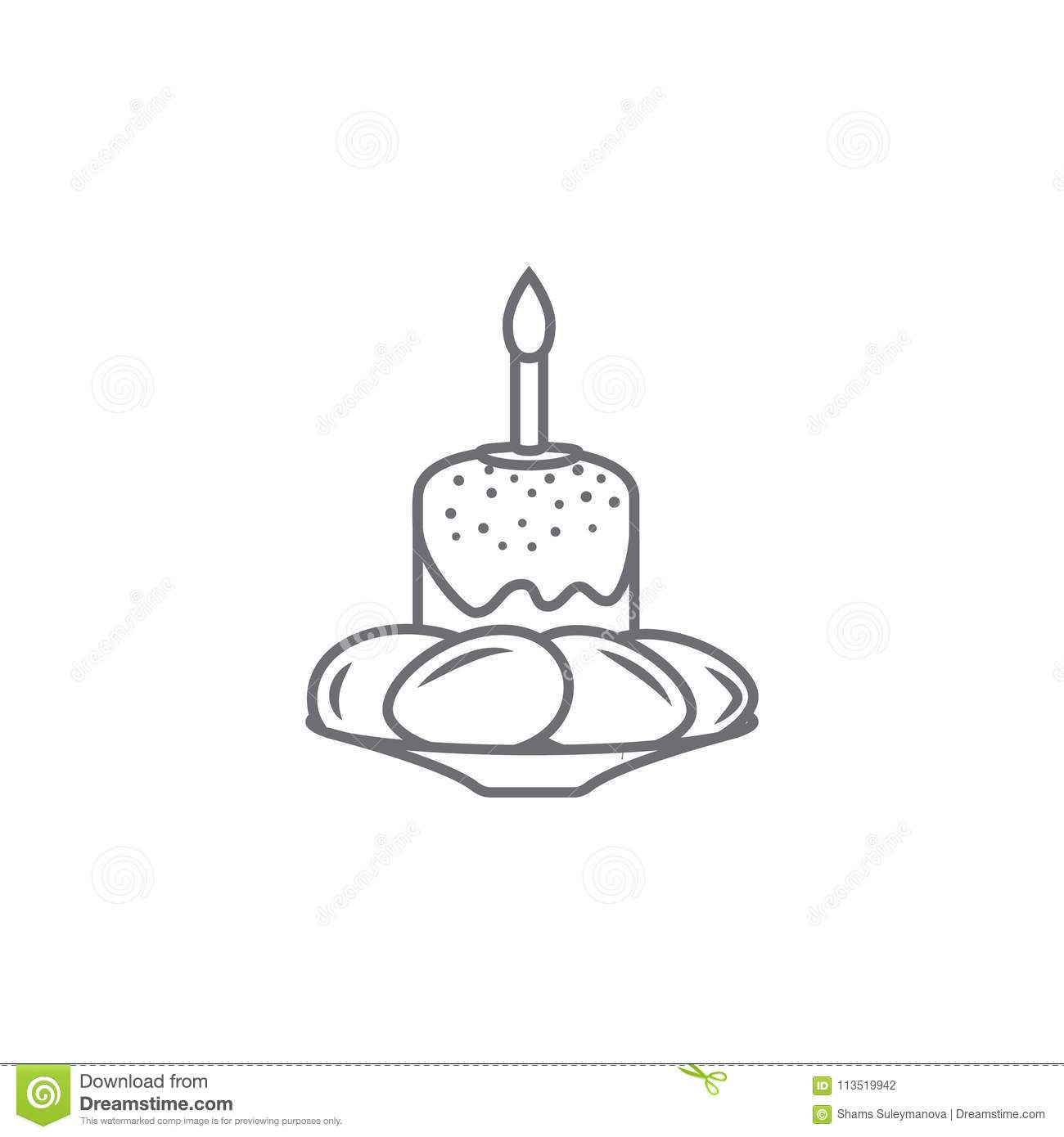 Easter Cake Candle And Eggs Icon Simple Element Illustration Symbol Design Template Can Be Used For Web Mobile On The