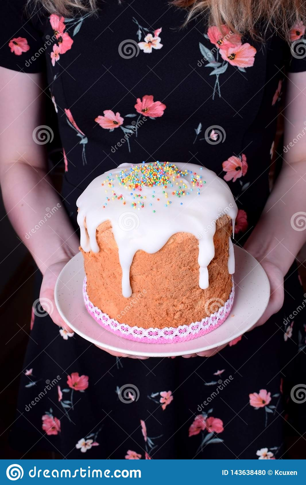 Easter cake with sugar glazing and multicolored confectionery sprinkles