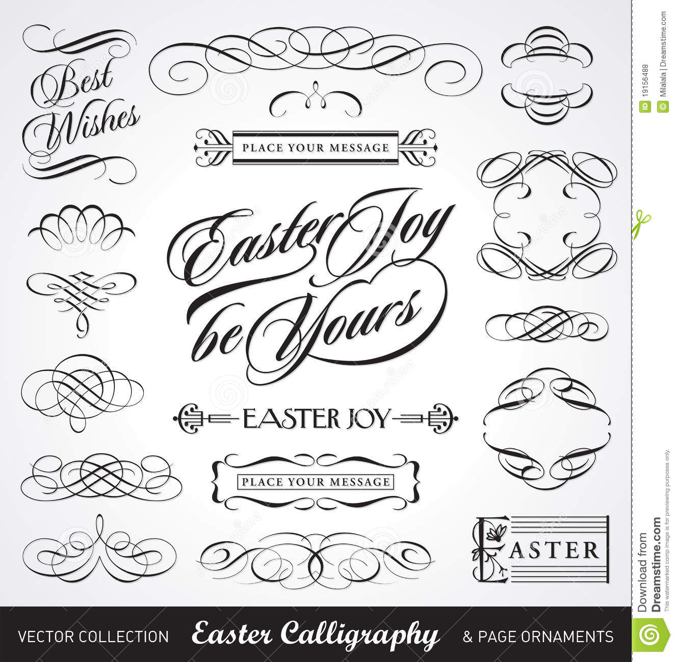 Easter calligraphy set vector stock