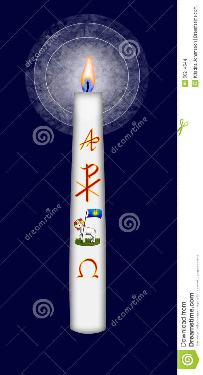 easter candle with christ monogram and alpha and omega symbol stock illustration