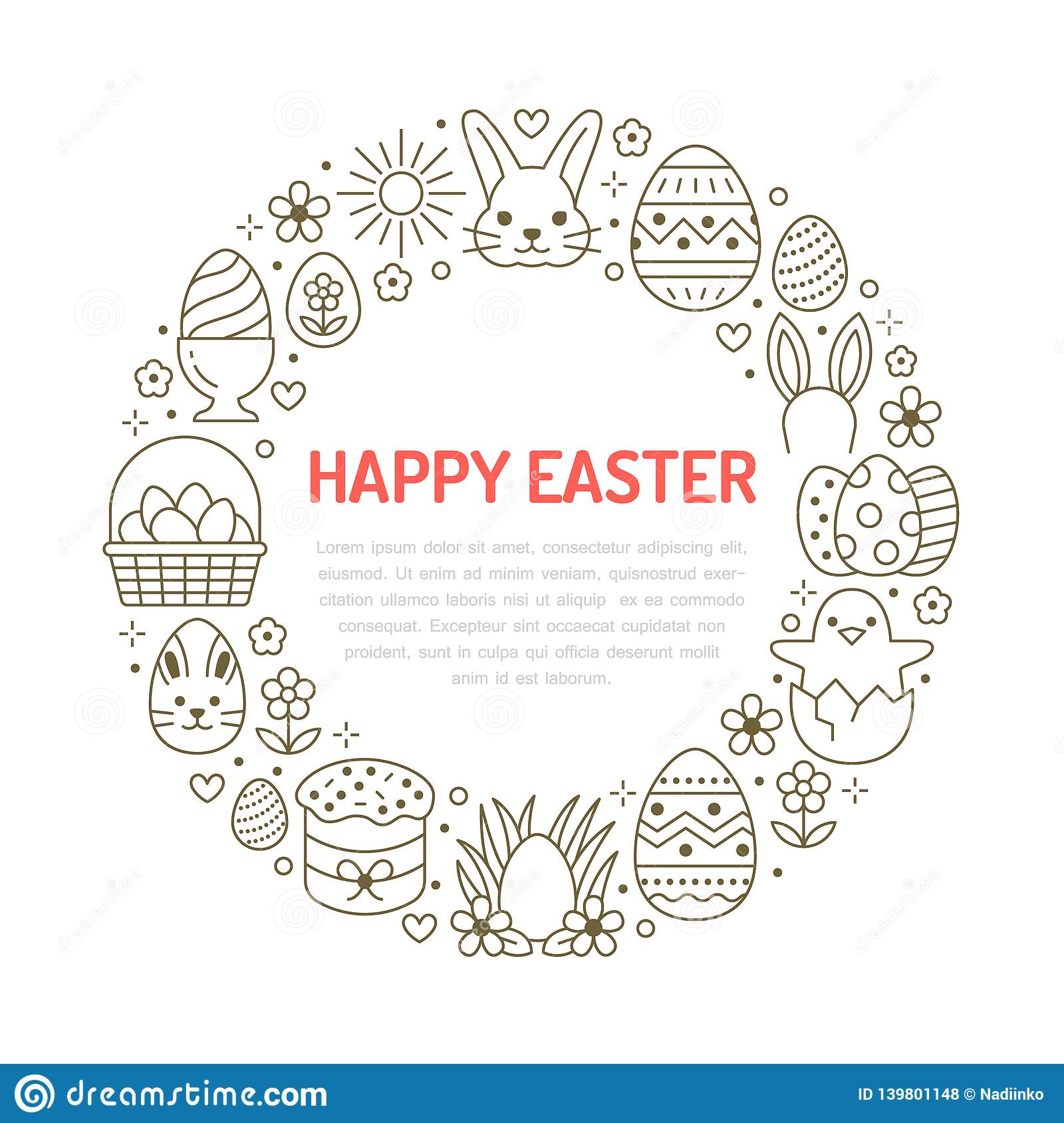 Easter Card Circle Template With Flat Line Icons Colored