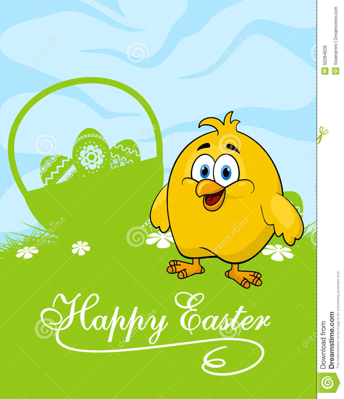 easter card with decorated eggs and cute chicken stock vector