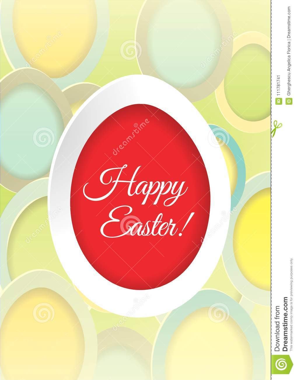 Easter card with Easter egg and eggs background