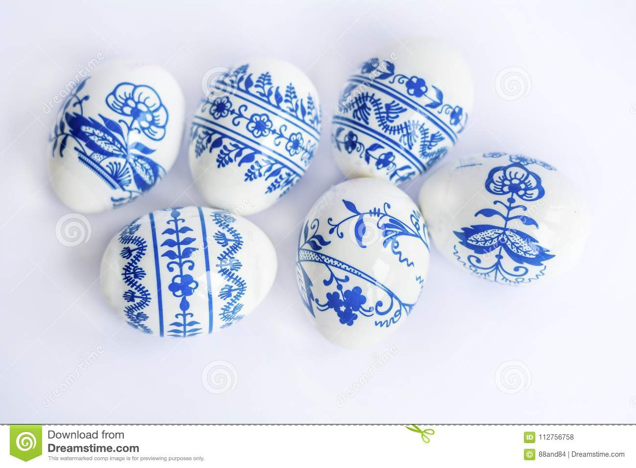 Beautiful Easter Eggs with Blue Painted Flowers