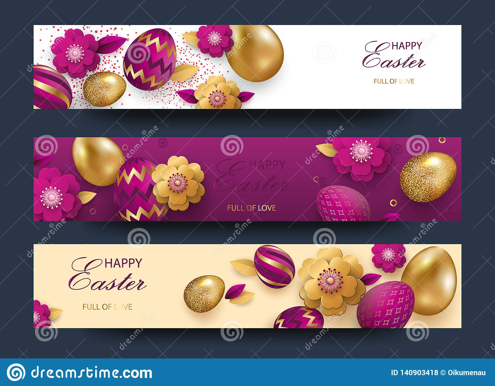 Easter card with gold ornate golden eggs on a light background. Vector .Place for your text. Golden eggs with small floral and