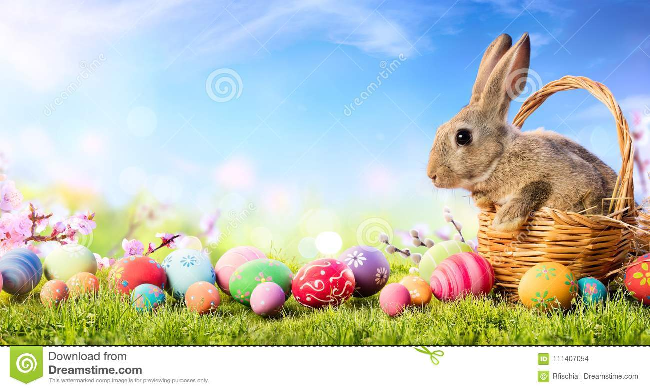 Easter Card - Little Bunny In Basket With Decorated Eggs