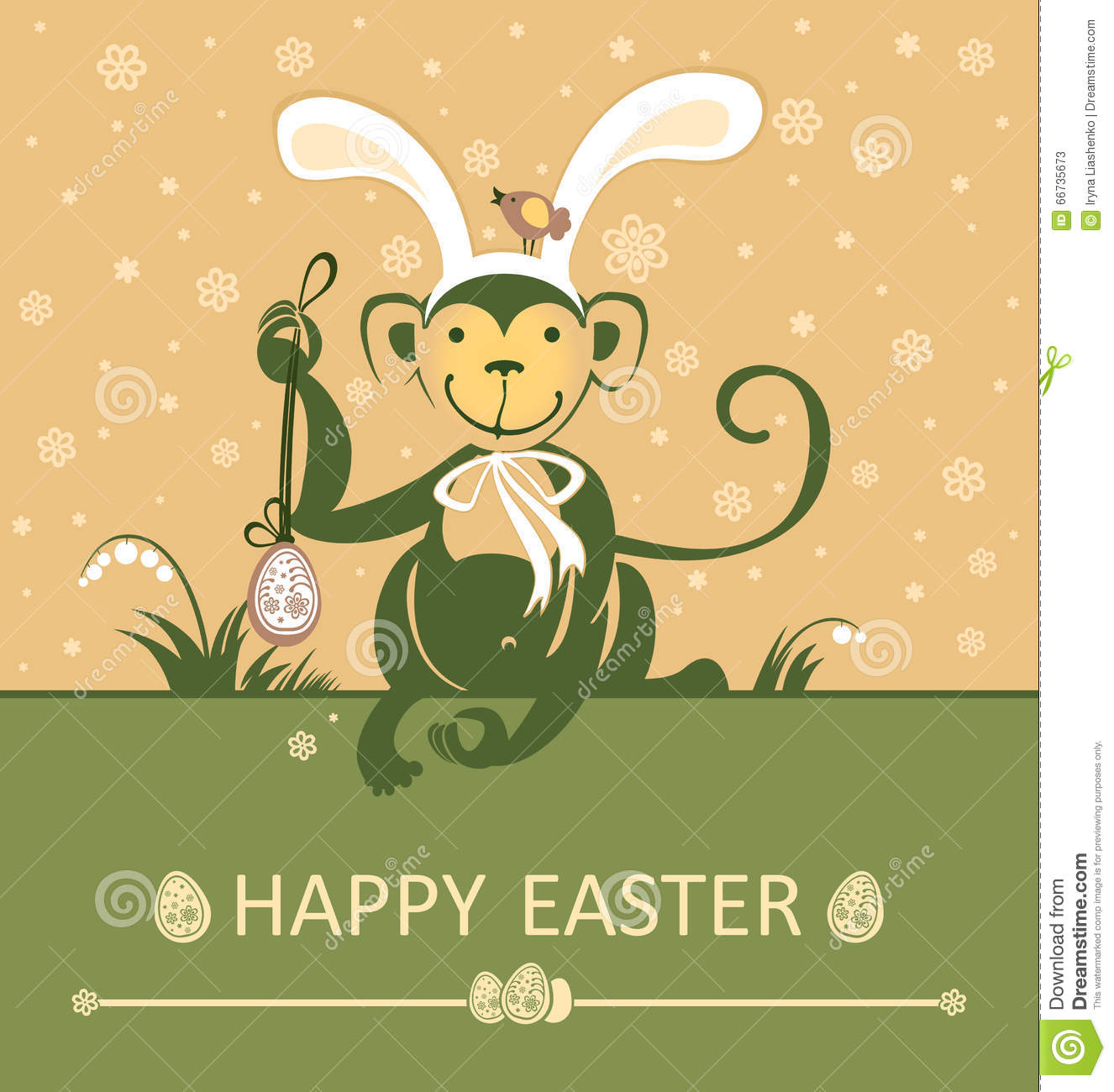 Easter card with monkey with rabbit ears stock illustration easter card with monkey with rabbit ears kristyandbryce Choice Image