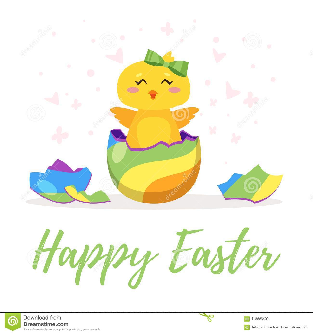 Easter Chick Hatched From Egg Stock Vector - Illustration of