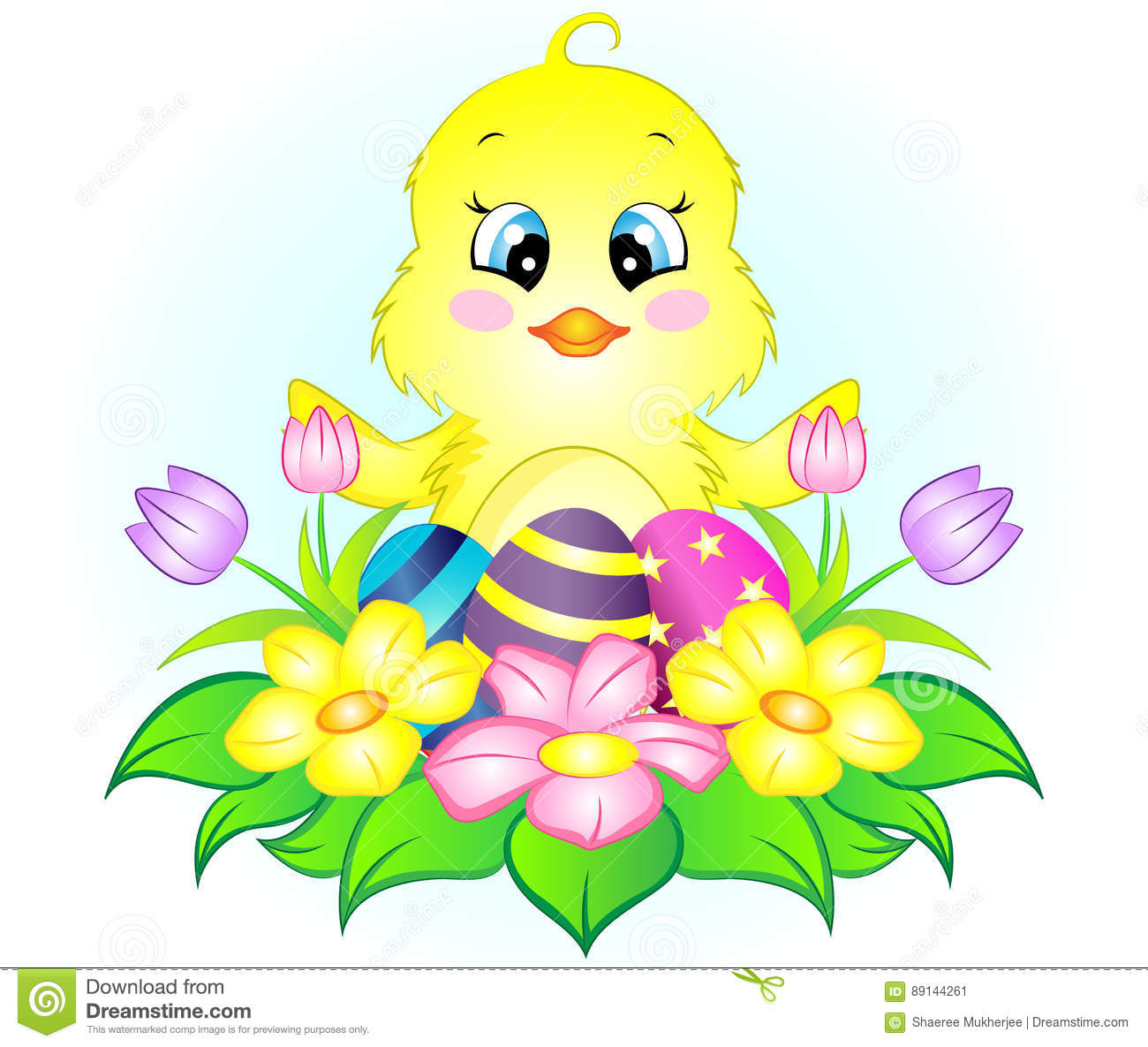 Easter Chicken With Eggs And Flowers Stock Vector ...