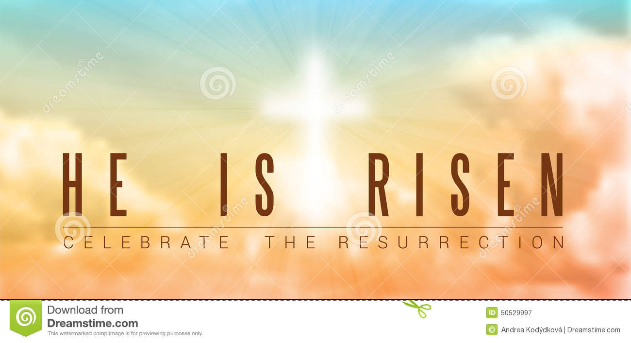 Easter christian motive,with text He is risen, vector illustration ...