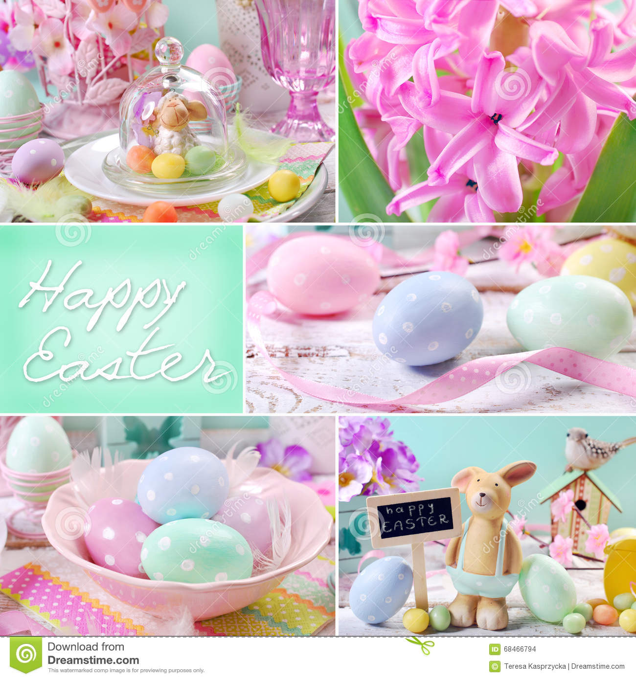 Easter collage in pastel colors stock photo image 68466794 for Beautiful pastel colors