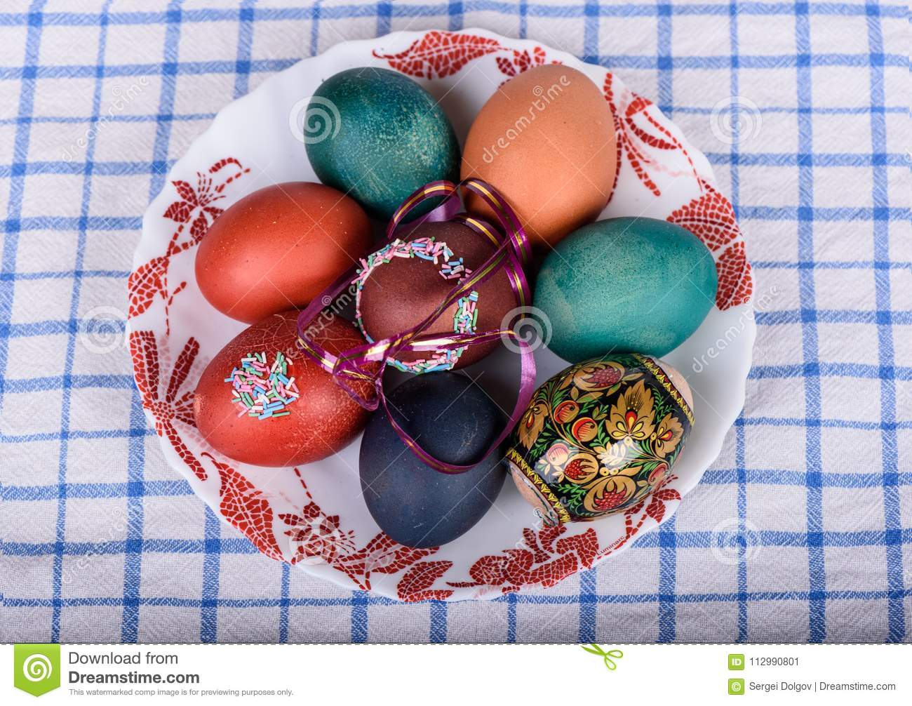 Easter colored eggs on a plate