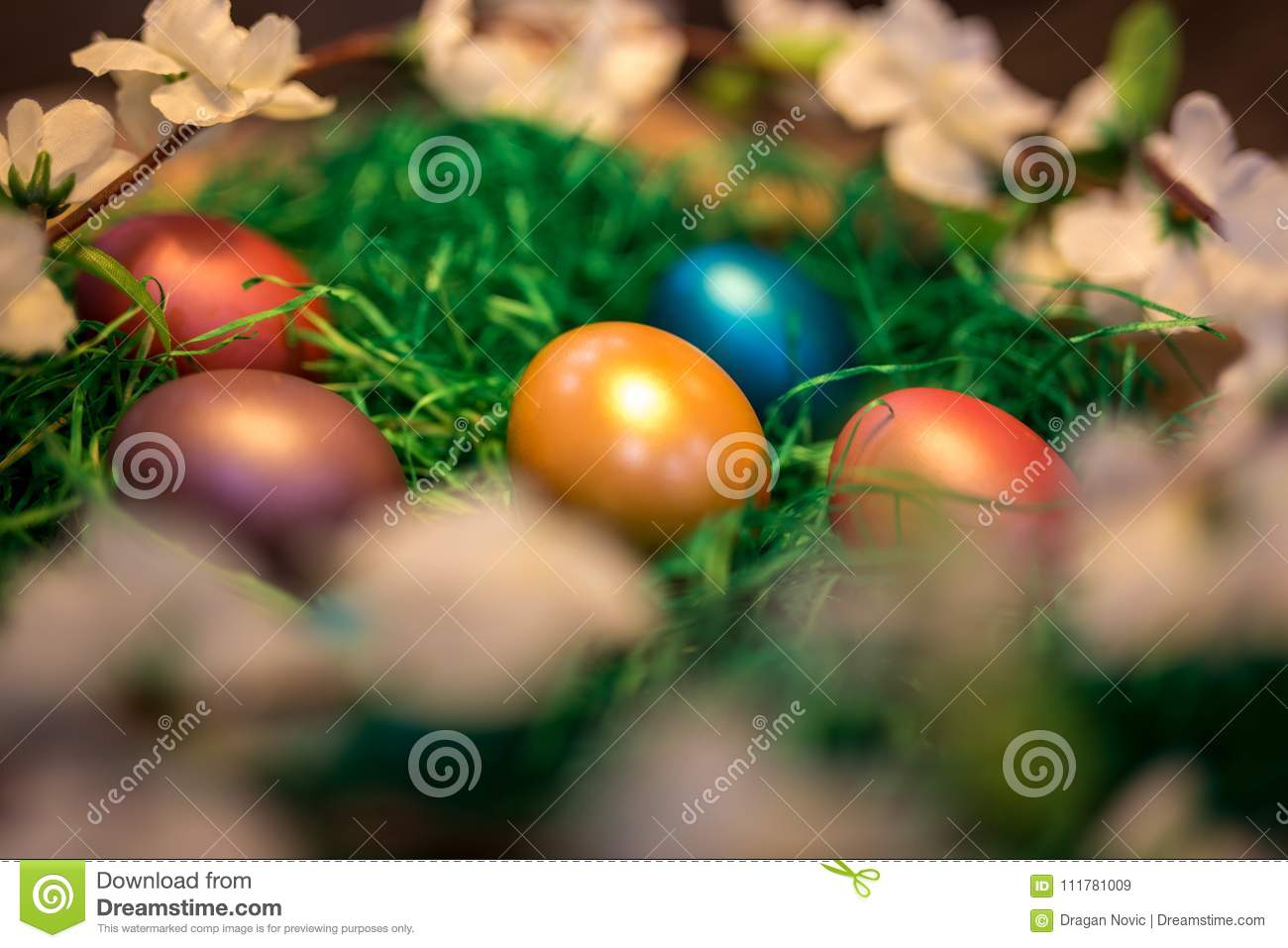 Easter colorful eggs in a nest