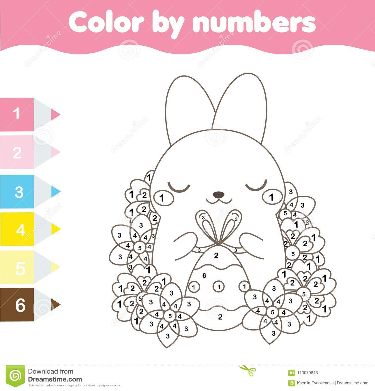 Easter Coloring Page Color By Numbers Printable Worksheet Cute Easter Rabbit With Egg Educational Game For Children Toddlers Stock Vector Illustration Of Babies Game 113079848