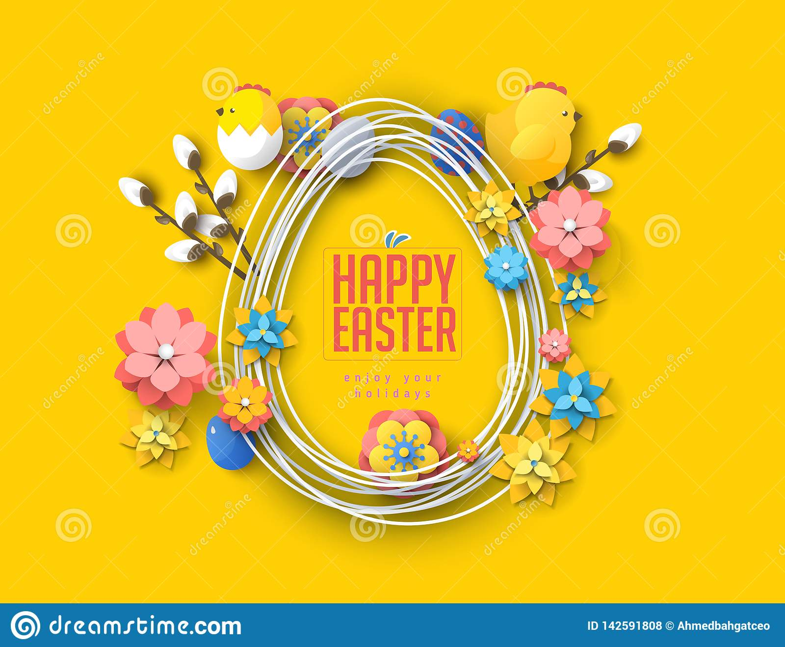 Easter concept banner flyer  colorful eggs rabbit abstract background texture