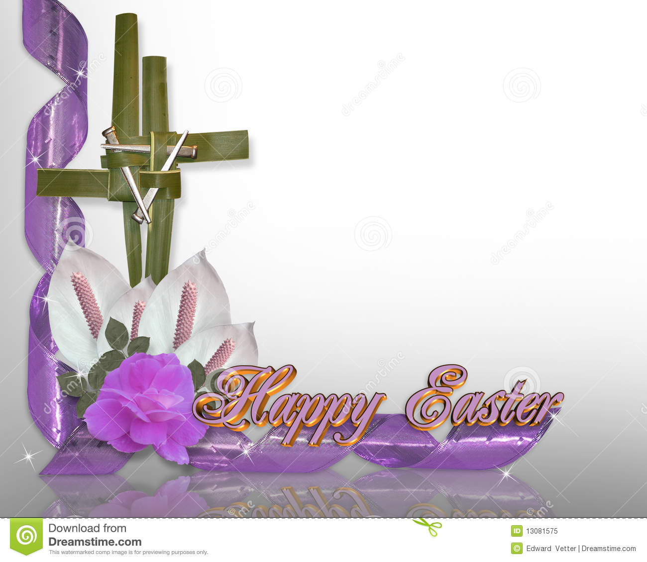 Image and illustration composition gold and purple cross from palm