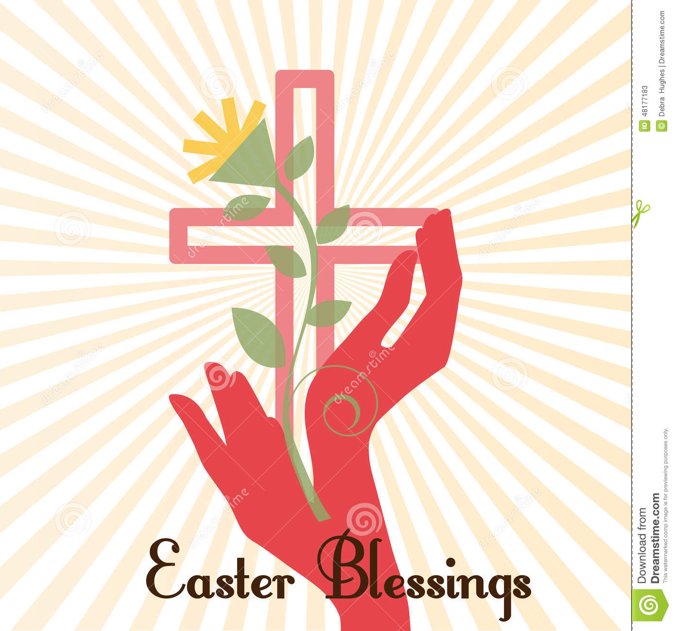 Easter Cross With Hands Stock Vector Image 48177183