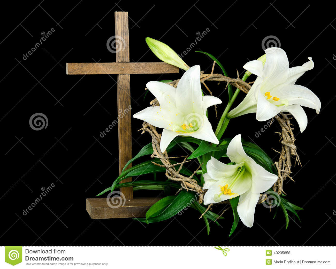 Easter cross and lilies stock photo image 40235858