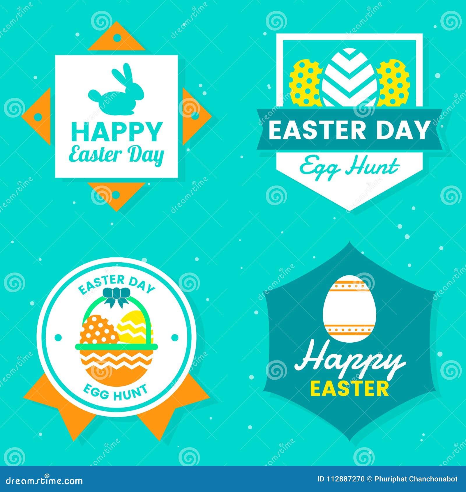 Easter Day Vector Logo For Banner Stock Vector Illustration Of