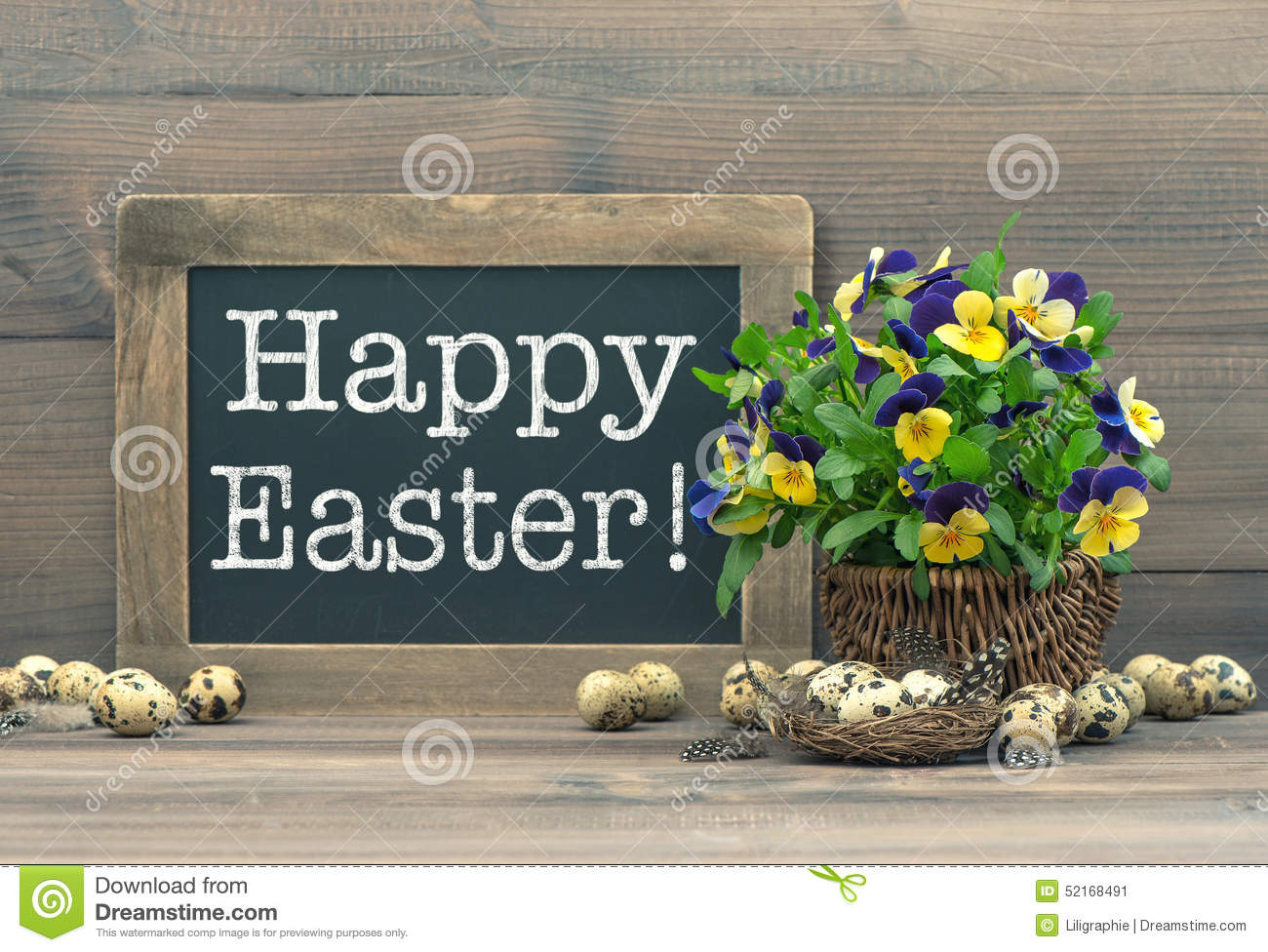 Easter decoration with quail eggs pansy flowers and for A style text decoration