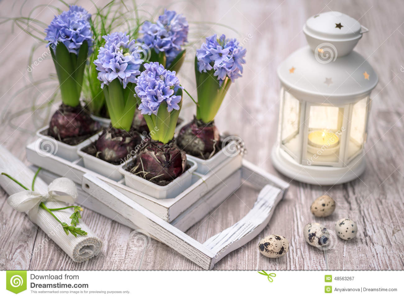 Easter Decorations With Flowers Stock Photo - Image: 87165864